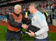 3 August 2013; Cork manager Conor Counihan and Dublin manager Jim Gavin shake hands at the final whistle. GAA Football All-Ireland Senior Championship, Quarter-Final, Dublin v Cork, Croke Park, Dublin. Picture credit: Oliver McVeigh / SPORTSFILE