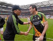 4 August 2013; Donegal goalkeeper Paul Durcan with Mayo manager James Horan, left, after the game. GAA Football All-Ireland Senior Championship, Quarter-Final, Mayo v Donegal, Croke Park, Dublin. Picture credit: Ray McManus / SPORTSFILE