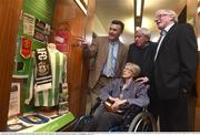 25 May 2016; The FAI unveiled a commemorative display in honour of former Ireland International and FC  Barcelona manager Patrick O'Connell at the FAI Headquarters today. Pictured is Mike O'Connell, grandson of Patrick O'Connell, with his wife Sue O'Connell, former Galway hurling captain Joe Connolly and former Ireland Rugby International Ollie Campbell. Mike O'Connell presented Ireland manager Martin O'Neill with a painting at the event. FAI HQ, National Sports Campus, Abbotstown, Dublin. Photo by David Maher/Sportsfile *** NO REPRODUCTION FEE ***