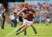 28 July 2013; Jason Grealish, Galway, is tackled by John Conlon, Clare. GAA Hurling All-Ireland Senior Championship, Quarter-Final, Galway v Clare, Semple Stadium, Thurles, Co. Tipperary. Picture credit: Stephen McCarthy / SPORTSFILE