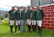 7 August 2013; Today Horseware Ireland launched their new Team Ireland kit ahead of the 2013 Dublin Horse Show. In attendance at the launch are, from left, Conor Swail, Cameron Hanley, Chef d'Equipe Robert Splaine, Dermot Lennon, Shane Breen and Cian O'Connor. RDS, Ballsbridge, Dublin. Picture credit: Barry Cregg / SPORTSFILE