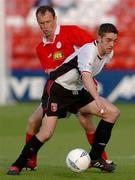 14 May 2004; Gary Beckett, Derry City, in action against Tony McCarthy, Shelbourne. eircom league, Premier Division, Shelbourne v Derry City, Tolka Park, Dublin. Picture credit; David Maher / SPORTSFILE