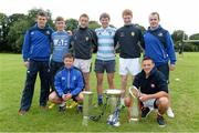 13 August 2013; Leinster acadamy players Tom Farrell, left, and Ed Byrne, right, with former school of excellence attendees and now Leinster 18's players, back row from left, Ger O'Connor, from Enniscorthy, Cillian Joyce, from Wexford, Conor Fenlon, from Wexford, Ciaran Frawley, from Skerries, front row, Andrew Feeney, Suttonians, left, and Collie Delaney, Suttonians at a Leinster School of Excellence. The King's Hospital, Palmerstown, Dublin. Picture credit: Brian Lawless / SPORTSFILE