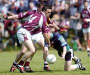 30 May 2004; Aidan McLarnon, London, in action against Galway's Padraic Joyce (14) and Sean Og de Paor. Bank of Ireland Connacht Senior Football Championship, London v Galway, Emerald Gaelic Grounds, Ruislip, London. Picture credit; Brian Lawless / SPORTSFILE