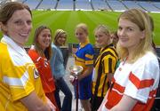3 June 2004; Edel Mason, Antrim, Mary O'Connor, Cork, RTE newscaster Sharon Ni Bheolian, Joanne Ryan, Tipperary, Maire O'Connor, Kilkenny, Kate Kelly, Wexford and Clare Doherty, Derry, at the launch of the Foras na Gaeilge Senior All Ireland Camogie Championship, Croke Park, Dublin. Picture credit; Damien Eagers / SPORTSFILE