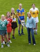 3 June 2004; Rose Collins, Limerick, Mary O'Connor, Cork, Maire O'Connor, Kilkenny, Joanne Ryan, Tipperary, Edel Mason, Antrim and RTE newscaster Sharon Ni Bheolian at the launch of the Foras na Gaeilge Senior All Ireland Camogie Championship, Croke Park, Dublin. Picture credit; Damien Eagers / SPORTSFILE
