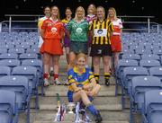 3 June 2004; Joanne Ryan, Tipperary, Mary O'Connor, Cork, Rose Collins, Limerick, Maire O'Connor, Kilkenny, Edel Mason, Antrim, Kate Kelly, Wexford, Aibhne Kelly, Galway and Clare Doherty, Derry at the launch of the Foras na Gaeilge Senior All Ireland Camogie Championship, Croke Park, Dublin. Picture credit; Damien Eagers / SPORTSFILE