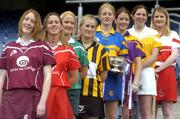 3 June 2004; Aibhne Kelly, Galway, Mary O'Connor, Cork, Rose Collins, Limerick, Maire O'Connor, Kilkenny, Joanne Ryan, Tipperary, Kate Kelly, Wexford, Edel Mason, Antrim, and Clare Doherty, Derry at the launch of the Foras na Gaeilge Senior All Ireland Camogie Championship, Croke Park, Dublin. Picture credit; Damien Eagers / SPORTSFILE