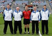 11 August 2013; Referee Shane Hourigan, with his umpires from left, Barry O'Donoghue, Derek Byrne, Padraic Jones and Vincent Kiely. Electric Ireland GAA Hurling All-Ireland Minor Championship, Semi-Final, Kilkenny v Waterford, Croke Park, Dublin. Picture credit: Oliver McVeigh / SPORTSFILE