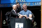 9 June 2004; Irish rugby international Victor Costello, right, with TJ Kearns, and P Michael Donohoe, left, of Colliers Jackson - Stops and the Royal Automobile Club, at the announcement of the Gordon Bennett commemmorative car rally which take place on Sunday 11th July from Dublin to the Moate of Ardschull, Co. Kildare. Picture credit; Brendan Moran / SPORTSFILE