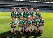 18 August 2013; The Limerick camogie team, back row, left to right, Erica Leslie, Amy Laverty, Ciara Lenihan, Ciara Buckner, Karen Cunningham, front row, left to right, Deirbhile Ward, Tara Lyons, Colleen McConnell, Anna-Rose Kennedy and çine McCreanor, before the INTO/RESPECT Exhibition GoGames at the GAA Hurling All-Ireland Senior Championship Semi-Final between Limerick and Clare. Croke Park, Dublin. Picture credit: Dáire Brennan / SPORTSFILE