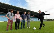 22 August 2013; Former Liverpool player Phil Thompson takes a penalty in MacHale Park watched by Newstalk 106-108 FM's Off the Ball presenters, from left ,Wexford hurler Diarmuid Lyng, Peter Mulry, Branch manager, Ulster Bank Belmullet, presenter Ger Gilroy, and Laois footballer Colm Parkinson in advance of the live broadcast of Ireland's most popular sports radio show 'Off the Ball' at Castlebar Mitchels GAA Club in Mayo on Thursday 22nd August. The 'Off The Ball Roadshow with Ulster Bank', which has already been to Donegal and Kerry, will also visit Cork and Dublin, to give GAA fans the opportunity to experience the multi award-winning show, where they will broadcast live from GAA haunts and clubs across the country. As part of the summer-long roadshow, Ulster Bank is also searching for Ireland's 'Best GAA Fan'. GAA super-fans are being invited to log on to ulsterbank.com/GAA to submit their most passionate and dedicated stories, pictures and videos that demonstrate the lengths they go to in supporting their county. There will be weekly prizes and Ireland's Best GAA Fan will be chosen to win €5,000 towards a home make-over and a trip to the GAA All-Ireland Senior Football Final. Castlebar Mitchels GAA Club, Elvery's MacHale Park, Castlebar, Co. Mayo. Picture credit: Matt Browne / SPORTSFILE