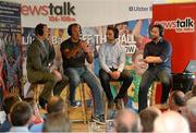 22 August 2013; Newstalk 106-108 FM's Off the Ball presenter Ger Gilroy, right, with, from left, former Mayo players David Brady, Liam McHale and Billy Joe Padden during the of the live broadcast of Ireland's most popular sports radio show 'Off the Ball' at Castlebar Mitchels GAA Club in Mayo on Thursday 22nd August. The 'Off The Ball Roadshow with Ulster Bank', which has already been to Donegal and Kerry, will also visit Cork and Dublin, to give GAA fans the opportunity to experience the multi award-winning show, where they will broadcast live from GAA haunts and clubs across the country. As part of the summer-long roadshow, Ulster Bank is also searching for Ireland's 'Best GAA Fan'. GAA super-fans are being invited to log on to ulsterbank.com/GAA to submit their most passionate and dedicated stories, pictures and videos that demonstrate the lengths they go to in supporting their county. There will be weekly prizes and Ireland's Best GAA Fan will be chosen to win €5,000 towards a home make-over and a trip to the GAA All-Ireland Senior Football Final. Castlebar Mitchels GAA Club, Elvery's MacHale Park, Castlebar, Co. Mayo. Picture credit: Matt Browne / SPORTSFILE