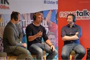 22 August 2013; Newstalk 106-108 FM's Off the Ball presenter Ger Gilroy, right, with from left former Mayo player David Brady, left, and Connacht rugby captain Gavin Duffy  uring the of the live broadcast of Ireland's most popular sports radio show 'Off the Ball' at Castlebar Mitchels GAA Club in Mayo on Thursday 22nd August. The 'Off The Ball Roadshow with Ulster Bank', which has already been to Donegal and Kerry, will also visit Cork and Dublin, to give GAA fans the opportunity to experience the multi award-winning show, where they will broadcast live from GAA haunts and clubs across the country. As part of the summer-long roadshow, Ulster Bank is also searching for Ireland's 'Best GAA Fan'. GAA super-fans are being invited to log on to ulsterbank.com/GAA to submit their most passionate and dedicated stories, pictures and videos that demonstrate the lengths they go to in supporting their county. There will be weekly prizes and Ireland's Best GAA Fan will be chosen to win €5,000 towards a home make-over and a trip to the GAA All-Ireland Senior Football Final. Castlebar Mitchels GAA Club, Elvery's MacHale Park, Castlebar, Co. Mayo. Picture credit: Matt Browne / SPORTSFILE
