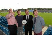 22 August 2013; Former Liverpool player Phil Thompson, second from right, with from left to right, Peter Mulry, Branch Manager, Ulster Bank Belmullet, Newstalk 106-108 FM's Off the Ball presenters Colm Parkinson, Laois footballer, and Wexford hurler Diarmuid Lyng in advance of the live broadcast of Ireland's most popular sports radio show 'Off the Ball' at Castlebar Mitchels GAA Club in Mayo on Thursday 22nd August. The 'Off The Ball Roadshow with Ulster Bank', which has already been to Donegal and Kerry, will also visit Cork and Dublin, to give GAA fans the opportunity to experience the multi award-winning show, where they will broadcast live from GAA haunts and clubs across the country. As part of the summer-long roadshow, Ulster Bank is also searching for Ireland's 'Best GAA Fan'. GAA super-fans are being invited to log on to ulsterbank.com/GAA to submit their most passionate and dedicated stories, pictures and videos that demonstrate the lengths they go to in supporting their county. There will be weekly prizes and Ireland's Best GAA Fan will be chosen to win €5,000 towards a home make-over and a trip to the GAA All-Ireland Senior Football Final. Castlebar Mitchels GAA Club, Elvery's MacHale Park, Castlebar, Co. Mayo. Picture credit: Matt Browne / SPORTSFILE