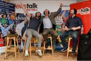 22 August 2013; Newstalk 106-108 FM's Off the Ball presenter Ger Gilroy, right, with Laois footballer Colm Parkinson, left, and former Mayo players David Brady during the of the live broadcast of Ireland's most popular sports radio show 'Off the Ball' at Castlebar Mitchels GAA Club in Mayo on Thursday 22nd August. The 'Off The Ball Roadshow with Ulster Bank', which has already been to Donegal and Kerry, will also visit Cork and Dublin, to give GAA fans the opportunity to experience the multi award-winning show, where they will broadcast live from GAA haunts and clubs across the country. As part of the summer-long roadshow, Ulster Bank is also searching for Ireland's 'Best GAA Fan'. GAA super-fans are being invited to log on to ulsterbank.com/GAA to submit their most passionate and dedicated stories, pictures and videos that demonstrate the lengths they go to in supporting their county. There will be weekly prizes and Ireland's Best GAA Fan will be chosen to win €5,000 towards a home make-over and a trip to the GAA All-Ireland Senior Football Final. Castlebar Mitchels GAA Club, Elvery's MacHale Park, Castlebar, Co. Mayo. Picture credit: Matt Browne / SPORTSFILE