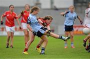 24 August 2013; Aoife Kane, Dublin, in action against Lisa Lynch, Cork. Ladies All-Ireland U16 'A' Championship Final, Cork v Dublin, St. Brendan's Park, Birr, Co. Offaly. Picture credit: Matt Browne / SPORTSFILE