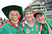 25 August 2013; Mayo supporters, from lef to right, Micheál Durcan, Ben Conway and James Conway, from Charlestown, Co. Mayo. GAA Football All-Ireland Senior Championship Semi-Final, Mayo v Tyrone, Croke Park, Dublin. Picture credit: Stephen McCarthy / SPORTSFILE
