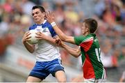 25 August 2013; Mikey Murnaghan, Monaghan, in action against Cian Hanley, Mayo. Electric Ireland GAA Football All-Ireland Minor Championship Semi-Final, Mayo v Monaghan, Croke Park, Dublin. Picture credit: Stephen McCarthy / SPORTSFILE