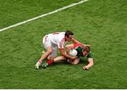 25 August 2013; Donal Vaughan, Mayo, in action against Mark Donnelly, Tyrone. GAA Football All-Ireland Senior Championship Semi-Final, Mayo v Tyrone, Croke Park, Dublin. Picture credit: Dáire Brennan / SPORTSFILE