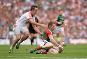 25 August 2013; Donal Vaughan, Mayo, in action against Mark Donnelly, Tyrone. GAA Football All-Ireland Senior Championship Semi-Final, Mayo v Tyrone, Croke Park, Dublin. Picture credit: Stephen McCarthy / SPORTSFILE