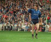 21 August 1994; Dublin goalkeeper John O'Leary celebrates another score. Bank of Ireland Football Championship Semi Final. Dublin v Leitrim. Croke Park. Dublin. Picture credit; Ray McManus / SPORTSFILE