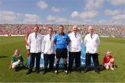 14 July 2013; Referee James McGrath and his umpires. Munster GAA Hurling Senior Championship Final, Limerick v Cork, Gaelic Grounds, Limerick. Picture credit: Ray McManus / SPORTSFILE