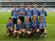 1 September 2013; The Dublin team of, back row, from left, Ronan Fox, Brian Murphy, PJ Daly, Darragh Battigan-Warnock and Dylan Reilly, front row, from left, Alan Barrett, Seán O'Donnell, Daniel Walsh, Craig P Malone and Damien McCaul before the INTO/RESPECT Exhibition GoGames at the GAA Football All-Ireland Senior Championship Semi-Final between Dublin and Kerry. Croke Park, Dublin. Picture credit: Ray McManus / SPORTSFILE
