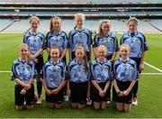 1 September 2013; The Dublin team, back row, from left, Catherine Conroy, Ciara Thorborn, Áine Nolan, Alison Hayes and Meg Woods, front row, from left, Emma Jane Bell, Sophie Finegan, Lauren O'Connor, Laura Kellett and Ava Berry before the INTO/RESPECT Exhibition GoGames at the GAA Football All-Ireland Senior Championship Semi-Final between Dublin and Kerry. Croke Park, Dublin. Picture credit: Ray McManus / SPORTSFILE