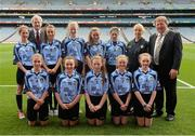 1 September 2013; The Dublin team of, back row, from left, Catherine Conroy, Ciara Thorborn, Áine Nolan,  Alison Hayes and Meg Woods, front row, from left, Emma Jane Bell, Sophie Finegan, Lauren O'Connor, Laura Kellett and Ava Berry with Eibhlín McKiernan, Ard Stiúrthoir Paraic Duffy and Séan McMahon, Vice-President of the Irish National Teachers Organisation, before the INTO/RESPECT Exhibition GoGames at the GAA Football All-Ireland Senior Championship Semi-Final between Dublin and Kerry. Croke Park, Dublin. Picture credit: Ray McManus / SPORTSFILE