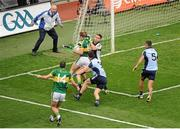 1 September 2013; Stephen Cluxton, Dublin, fouls Donnchadh Walsh, Kerry, which resulted in a penalty for Kerry. GAA Football All-Ireland Senior Championship, Semi-Final, Dublin v Kerry, Croke Park, Dublin. Picture credit: Dáire Brennan / SPORTSFILE