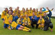 1 September 2013; The Douglas Hall LFC team celebrate with the cup after victory over Colga FC. FAI Umbro Women's Intermediate Cup Final, Colga FC v Douglas Hall LFC, Fahy's Field, Galway. Picture credit: Diarmuid Greene / SPORTSFILE