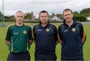 1 September 2013; Colin McNamara, Greg Farrelly and Alan Ennis, Offaly management team. All-Ireland Ladies Football Junior Championship, Semi-Final, Offaly v Derry, Carrickmacross Emmets GAA Club, Emmet Park, Monaghan. Picture credit: Oliver McVeigh / SPORTSFILE