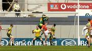 11 July 2004; Armagh's Diarmuid Marsden gets to the ball ahead of Donegal goalkeeper Paul Durcan to score their opening goal. Bank of Ireland Ulster Senior Football Championship Final, Armagh v Donegal, Croke Park, Dublin. Picture credit; Damien Eagers / SPORTSFILE