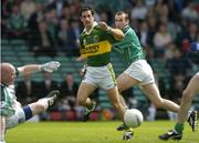 11 July 2004; Kerry's Paul Galvin and Limerick's Stephen Lavin look on after Galvin's shot was saved by Limerick goalkeeper Seamus O'Donnell. Bank of Ireland Munster Senior Football Championship Final, Limerick v Kerry, Gaelic Grounds, Limerick. Picture credit; Brendan Moran / SPORTSFILE