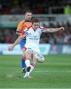 6 September 2013; Paddy Jackson, Ulster, kicks a first half penalty. Celtic League 2013/14, Round 1, Newport Gwent Dragons v Ulster, Rodney Parade, Wales. Picture credit: Steve Pope / SPORTSFILE