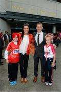 8 September 2013; Robert and Marian Heffernan with their children, Cathal and Megan, ahead of the GAA Hurling All-Ireland Championship Finals, Croke Park, Dublin. Picture credit: Stephen McCarthy / SPORTSFILE