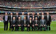 8 September 2013; The Hurling 'Stars of the 80's' team, back row, from left, Leonard Enright, Limerick, Terence McNaughton, Antrim, Sean Stack, Clare, John Galvin, Waterford, Mossy Walsh, Waterford, Pat Critchley, Laois, David Kilcoyne, Westmeath, Martin Quigly, Waterford, and PJ Cuddy, Laois, front row, from left, Jack Quaid, representing his son the late Tommy Quaid, Limerick, Dessie Donnelly, Antrim, Ger Loughlane, Clare, John Callinan, Clare, Paddy Kelly, Limerick, and Jim Greene, Waterford. GAA Hurling All-Ireland Senior Championship Final, Cork v Clare, Croke Park, Dublin. Picture credit: Matt Browne / SPORTSFILE