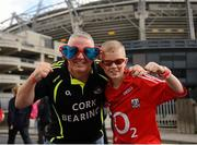 8 September 2013; Cork supporters Stephen Hill, and his son Aaron, aged 11, from Cathedral Road, Cork City, ahead of the GAA Hurling All-Ireland Championship Finals, Croke Park, Dublin. Picture credit: Dáire Brennan / SPORTSFILE
