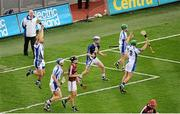 8 September 2013; Waterford players, left to right, Sam O'Neill, Tom Devine, Gavin Power, Cian Leahy, and Barry Whelan, celebrate at the final whistle. Electric Ireland GAA Hurling All-Ireland Minor Championship Final, Galway v Waterford, Croke Park, Dublin. Picture credit: Dáire Brennan / SPORTSFILE