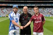 8 September 2013; Referee Cathal McAllister with  Waterford captain Kevin Daly and Galway captain Darragh Dolan. Electric Ireland GAA Hurling All-Ireland Minor Championship Final, Galway v Waterford, Croke Park, Dublin. Picture credit: Matt Browne / SPORTSFILE