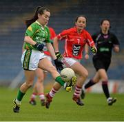 7 September 2013; Sarah Houlihan, Kerry, in action against Geraldine O'Flynn, Cork. TG4 All-Ireland Ladies Football Intermediate Championship, Semi-Final, Cork v Kerry, Semple Stadium, Thurles, Co. Tipperary. Picture credit: Brendan Moran / SPORTSFILE