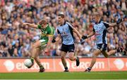 1 September 2013; James O'Donoghue, Kerry, in action against Rory O'Carroll and Johnny Cooper, right, Dublin. GAA Football All-Ireland Senior Championship, Semi-Final, Dublin v Kerry, Croke Park, Dublin. Picture credit: Stephen McCarthy / SPORTSFILE