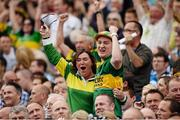 1 September 2013; Kerry supporters celebrate a score. GAA Football All-Ireland Senior Championship, Semi-Final, Dublin v Kerry, Croke Park, Dublin. Picture credit: Stephen McCarthy / SPORTSFILE