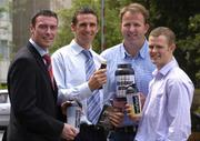 3 August 2004; At the launch of Pro-Performance, Ireland's first Sports Nutrition Company in Association with Elvery Sports Stores are, (from left to right), Ray Cosgrove, Dublin, Clare hurler, and CEO of Pro-Performance, Tony Griffin, Colin Corkery, Cork, and Tommy Walsh, Kilkenny, Berkeley Court Hotel, Ballsbridge, Dublin. Picture credit; Ray McManus / SPORTSFILE