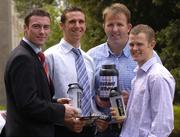3 August 2004; At the launch of Pro-Performance, Ireland's first Sports Nutrition Company in Association with Elvery Sports Stores are, (from left to right), Ray Cosgrove, Dublin, Clare hurler, and CEO of Pro-Performance, Tony Griffin, Colin Corkery, Cork, and Tommy Walsh, Kilkenny. Berkeley Court Hotel, Ballsbridge, Dublin. Picture credit; Ray McManus / SPORTSFILE