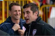 15 September 2013; Derry City manager Declan Devine and Sligo Rovers manager Ian Baraclough. FAI Ford Cup Quarter-Final, Sligo Rovers v Derry City, The Showgrounds, Sligo. Picture credit: David Maher / SPORTSFILE