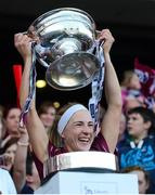 15 September 2013; Therese Maher, Galway, lifts the O'Duffy Cup. Liberty Insurance All-Ireland Senior Camogie Championship Final, Galway v Kilkenny, Croke park, Dublin. Picture credit: Paul Mohan / SPORTSFILE