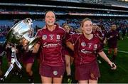 15 September 2013; Sarah Dervan, left, and Lorraine Ryan, Galway, celebrate with the O'Duffy Cup after the game. Liberty Insurance All-Ireland Senior Camogie Championship Final, Galway v Kilkenny, Croke park, Dublin. Picture credit: Paul Mohan / SPORTSFILE