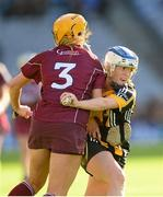 15 September 2013; Shelly Farrell, Kilkenny, in action against Sarah Dervan, Galway. Liberty Insurance All-Ireland Senior Camogie Championship Final, Galway v Kilkenny, Croke park, Dublin. Picture credit: Paul Mohan / SPORTSFILE